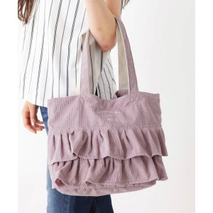 【passage mignon(パサージュ ミニョン)】 ロゴ入りフリルトートバッグ OUTLET > バッグ・財布・小物入れ > トートバッグ ピンク