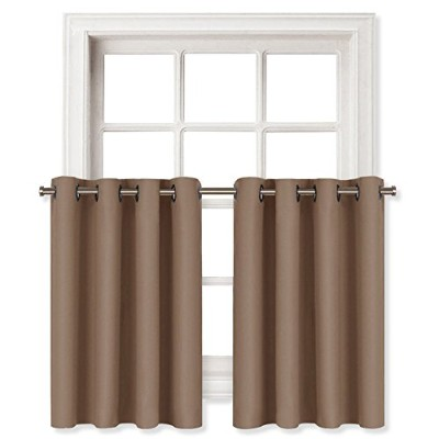(W52 L36-1 Panel, Cappuccino) - Blackout Valance Tier for Small Window - Grommet Top Window...