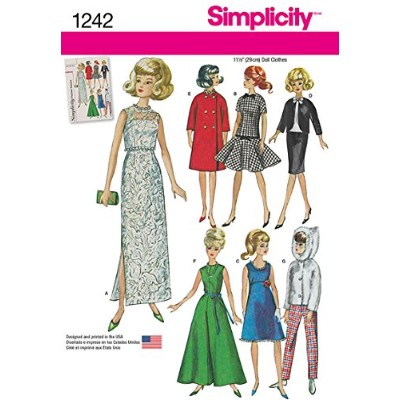 Simplicity Creative Patterns 1242 Vintage Doll Clothes for 11 1/2-Inch Doll, Size: Os One Size by...