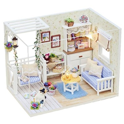 greatgiftlistドールハウスミニチュアDIYキットDolls House部屋with Cover and LEDライト3d木製Castle Toyハンドクラフトアートワーク誕生日恋人ギフト...