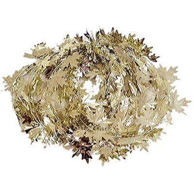 (Silver Gold (2 Pack)) - Fall Harvest Wire Leaf Garland 7.6m Long (Silver Gold (2 Pack))