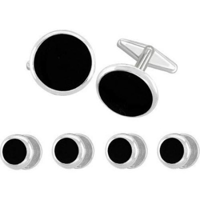 Classic Round Tuxedo Stud and Cufflink Set,with Black Centre and Silver Colour Edge