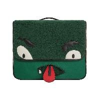 Burberry Kids Monster Faux Shearling and Vintage Check Satchel - グリーン