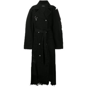 Diesel distressed long trench coat - ブラック