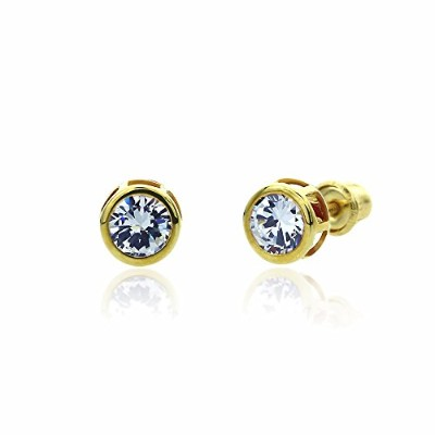 14K Solid Yellow Gold 5mm 0.5ctw Round CZ Bezel Set Screw Back Stud Earrings For Children & Women