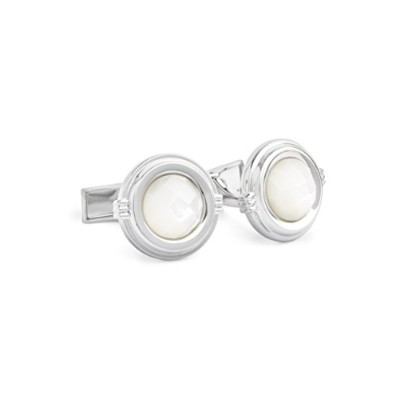 Ike BeharメンズFaceted Mother Of Pearl Stone Cufflinks カラー: ホワイト
