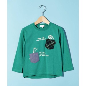 【3can4on(Kids)(サンカンシオン(キッズ))】 ポケットアニマル ロングTシャツ OUTLET > トップス > Tシャツ モスグリーン