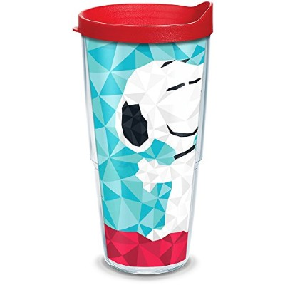 Tervis 1300489peanuts-geometricスヌーピーInsulated Tumbler withラップと蓋、24オンス、クリア