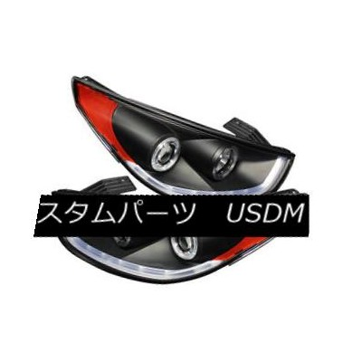 ヘッドライト Fit Hyundai 11-13 Tucson Black DRL LED Halo Projector Headlights Strip Tube Lamp フィットヒュンダイ11...