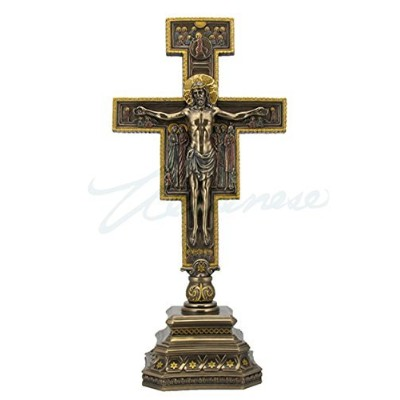 (36cm) - San Damiano Crucifix on Stand Sculpture 36cm Tall