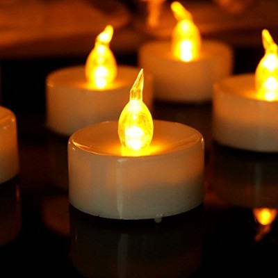 Youngerbaby 100pcs Amber Yellow Battery-powered Flameless Flickering Led Tea Light for Weddings,...