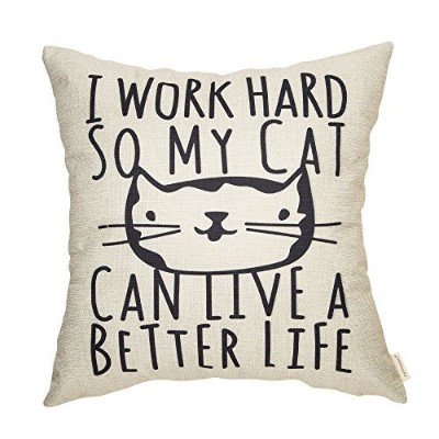 fahrendom I Work Hard So My Cat Can Live A Better Life Cute Kitty Funny Quoteコットンリネンホームデコレーションスロー枕カバ...