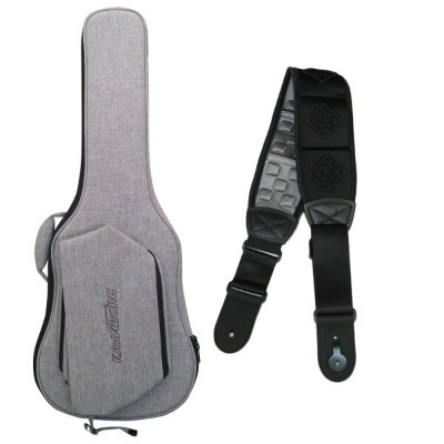 Kavaborg Fashion Guitar and Bass Bag for Electric Guitar + Functional Guitar Strap RDS-80 Black...
