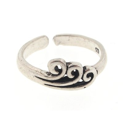 925 Sterling Silver Toe Ring Three Wave, One Size Fits All