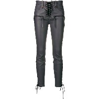 Unravel Project lace-up leather trousers - グレー