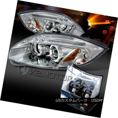 ヘッドライト 06-11 Mitsubishi Eclipse Chrome LED Halo Projector Headlights+H1 Halogen Bulbs 06-11三菱Eclipse...