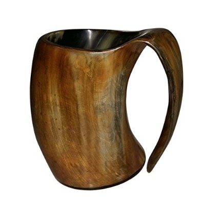 Viking Drinking Beer MugワインカップTankard自然Ox中世Game Thrones Horn
