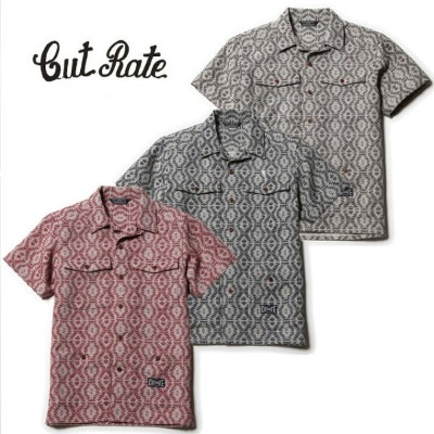 CUT RATE カットレイト S/S NATIVE PATTERN SHIRT 半袖シャツ 送料無料