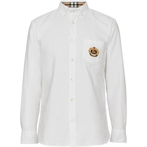 Burberry Embroidered Archive Logo Cotton Oxford Shirt - ホワイト