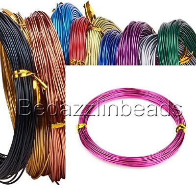 (Magenta Pink) - 18m 20 Gauge Coloured Round Aluminium Jewellery Wrapping Craft Wire 0.8mm Thick ...