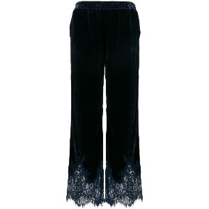 Gold Hawk velvet lace trim trousers - ブルー