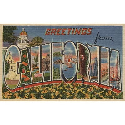 Greetings from California Stateビュー 9 x 12 Art Print LANT-6154-9x12