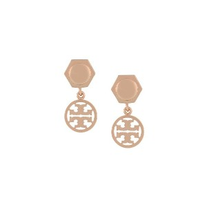 Tory Burch logo drop earrings - メタリック