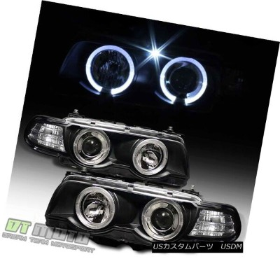 ヘッドライト Black 1999-2001 BMW E38 7-Series LED Halo Projector Headlights HID Version Only ブラック1999...