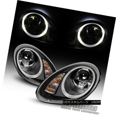ヘッドライト Black 2005-2008 Porsche Boxster 987 Cayman Halogen LED Tube Projector Headlights ブラック2005...