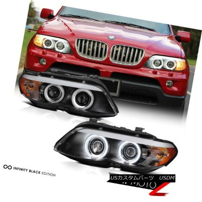 ヘッドライト 2004-2006 BMW E53 X5 4.8is|4.4i|3.0i BLK CCFL Angel Eye Halo Projector Headlight 2004-2006...