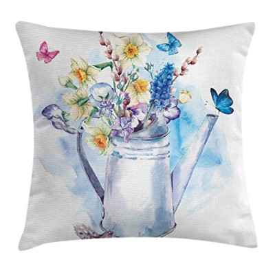 Daffodilスロー枕クッションカバーby Ambesonne、夏Bouquet with violets puss-willowsと蝶で古いファッションWatering Can...