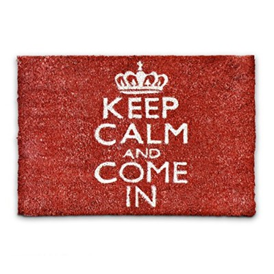 """Relaxdays Coco Coir Doormat""""Keep Calm And Come In"""" Size: 40 x 60 cm"""