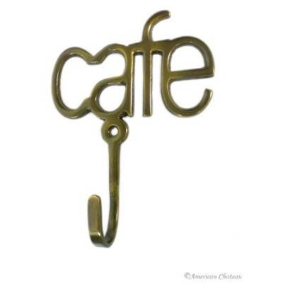 NEW Metal HOOKS SIGN Brass Cafe LETTERING Coffee CUP Bistro Kitchen Wall Hook
