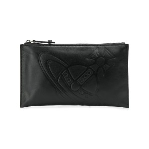 Vivienne Westwood logo embossed clutch bag - ブラック