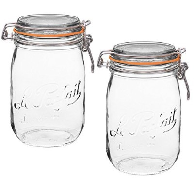 Le Parfait FrenchガラスCanning Jar with 85mmガスケットと蓋–1.5リットル 1 Liter (Pack of 2) クリア