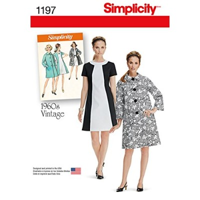 Simplicity 1960's Vintage Pattern 1197 Misses Dress and Lined Coat Sizes 6-8-10-12-14 by Simplicity...