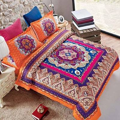 (Queen (1 comforter + 2 shams), 0001) - Mandala Comforter Set Queen, 3-Piece Orange Bohemian Boho...