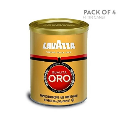 Lavazza Qualita Oro Medium Roast Ground Coffee, 8.8-Ounce Cans (Pack of 4) by Lavazza