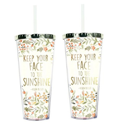 Keep Your Face in Sunshineヘレンケラー24オンスストロータンブラーwith Goldtone蓋 2 Pack 21402