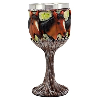EbrosギフトEquine Beauty Wild Horses Wine Goblet 7oz Chalice Cup in Rustic Wood Bark Rootsデザイン