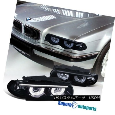 ヘッドライト 1995-2001 BMW E38 7-Series Euro Smoke Projector Headlights DRL Dual Halo LED 1995-2001 BMW...