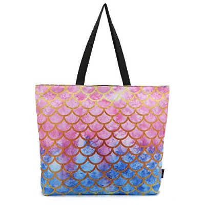 ICOLOR Mermaid Large Eco Reusable Eco-friendly Shopping Bag Handle case Bag School Travel Totes Bag...