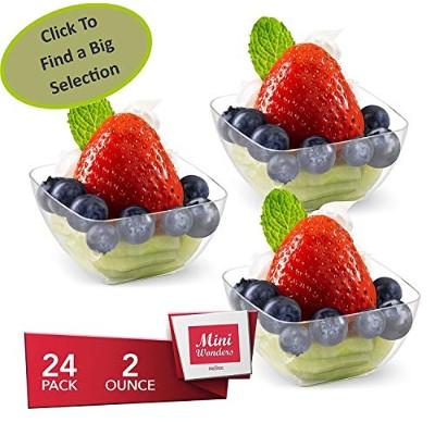 Mini Wonders Heavy Duty SmallプラスチックSingle Serveデザートカップ2オンスクリアAppetizer Square Bowls 24 Count –...