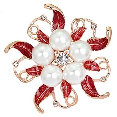 SanwoodブローチピンBreastpin Flower Broaches forウェディングパーティークリスマスギフト レッド
