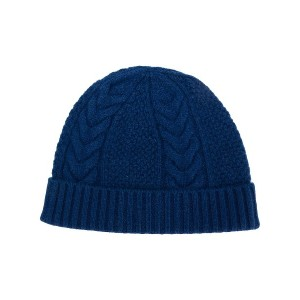 N.Peal cable knit beanie - ブルー