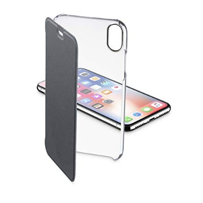 Cellularline iPhone XS ケース 手帳型 クリア スリム ブラック CLEAR BOOK for iPhone XS/X