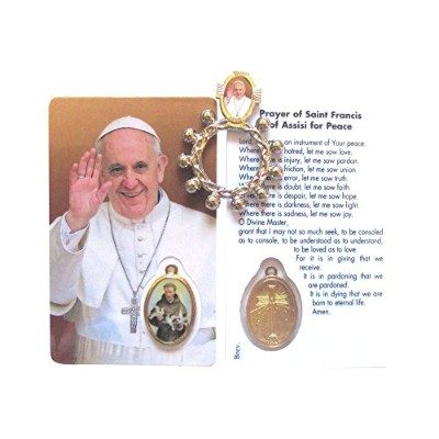Pope Francis Saint Francis Prayer for Peace Blessed Prayerカードwith Sealed Saint Francis Medal and...