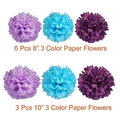 Paxcoo 29 Pcs Purple and Blue Party Decorations with Tissue Pom Poms Lanterns Tassel Garland for...
