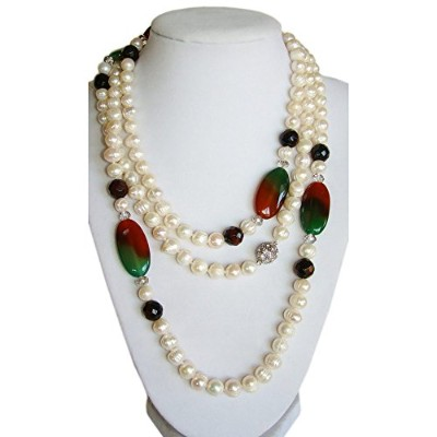 """w-modaレディース56"""" Long Fresh Water Pearl Necklack withギフトバッグ、ホワイト色"""