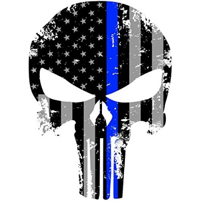 Tattered 5x4 Inch Subdued Us Flag Punisher Skull Reflective Decal with Thin Blue Line by Empire...